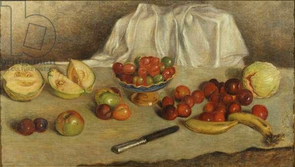 Still Life with Knife (Natura morta con coltello), by Giorgio De Chirico, 1932, 20th century (tempera and oil on canvas) 80 x 140 cm