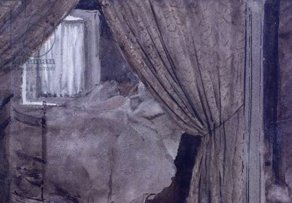 Angle of alcove (Angolo d'alcova), by Giuseppe De Nittis, 1882, 19th Century, watercolor paper, 22 x 16 cm