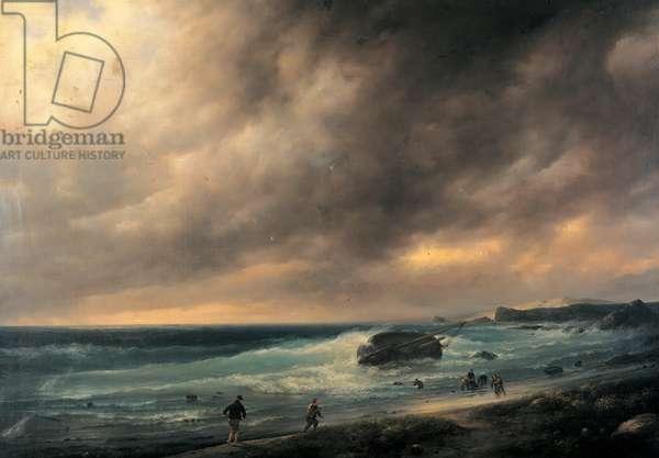 Storm on the Beach of Scheveningen, 1839 (oil on canvas)