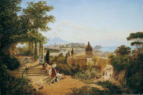 Naples seen from the Slopes of the Vomero (Napoli dalle pendici del Vomero), by Carl Wilhelm Goetzloff, 19th century (oil on canvas)