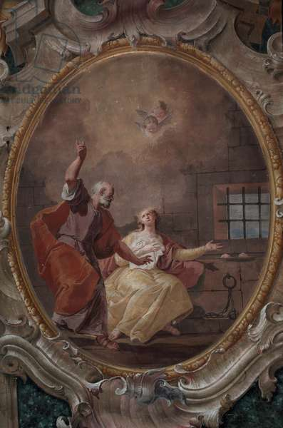 Visit of St. Peter to St. Agatha in Prison, by Francesco Fontebasso, 1761 - 1768, 18th Century, fresco