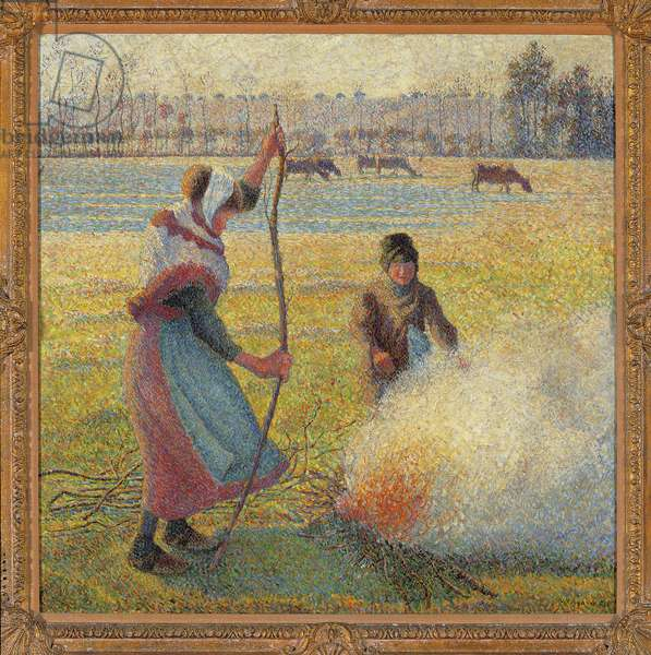 Young peasant woman making fire, white gelee, or the burning of the fields, 1887-1888 (oil on canvas)
