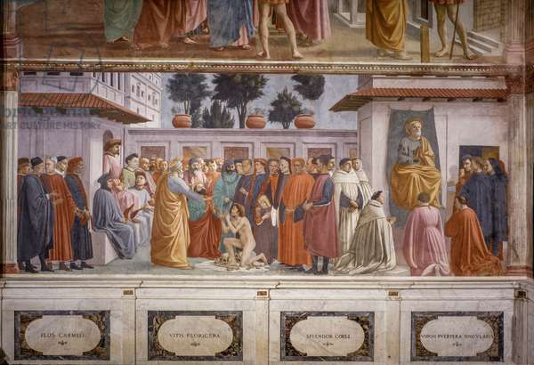 Raising of the Son of Theophilus and Saint Peter Enthroned, 1427-1485 (fresco)