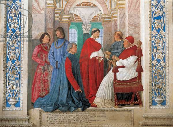 Pope Sixtus IV, naming Bartolomeo Sacchi , detail, 1477 (fresco)