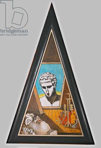 Silent Dialogue (Dialogo silenzioso), by Giorgio De Chirico, 1973, 20th Century, oil on triangular canvas, 83 x 50 cm