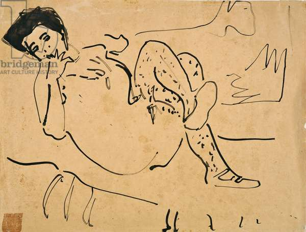 Woman nude (Nudo femminile), by Ernst Ludwig Kirchner, 1909 - 1912, 20th Century, ink on paper, 34 x 44 cm