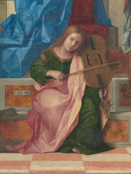 San Zaccaria Altarpiece (Madonna Enthroned with Child, with Sts Peter, Catherine of Alexandria, Lucy, and Jerome), by Giovanni Bellini, 1505, 16th Century, panel canvas, cm 500 x 235