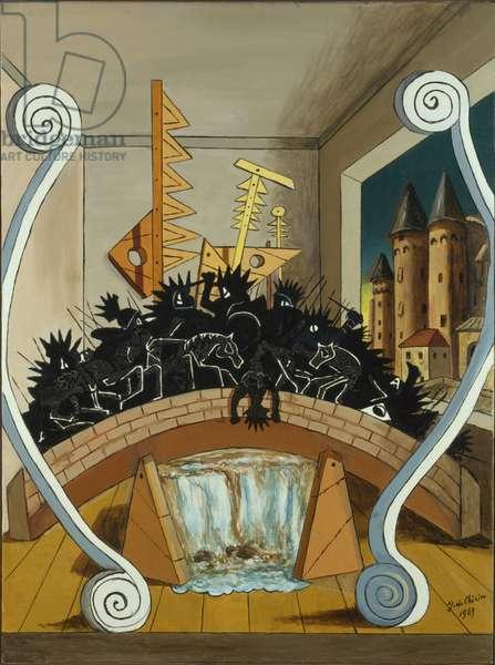 The Battle on the Bridge (La battaglia sul ponte), by Giorgio De Chirico, 1969, 20th century (oil on canvas)