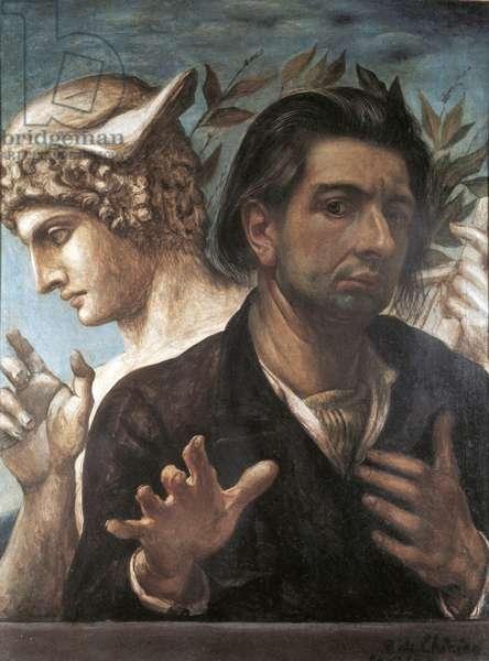 Self Portrait with Head of Mercury (Autoritratto con testa di Mercurio), by Giorgio de Chirico, 20th Century, tempera on canvas, 65 x 50 cm