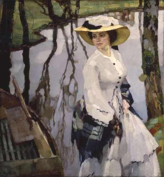 On the Shore (Sulla riva), by Leo Putz, 1909, 20th Century, oil on canvas