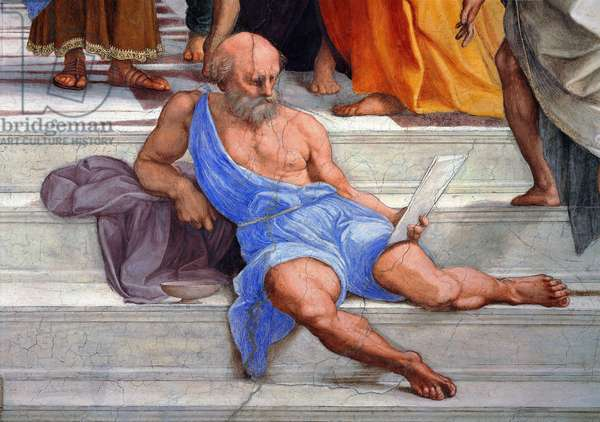 Diogene, detail of the School of Athens, 1510-11 (fresco)