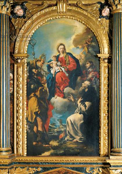 Virgin Mary with Child and Saints, by Francesco Guardi and Giovanni Antonio Guardi, 18th Century, canvas