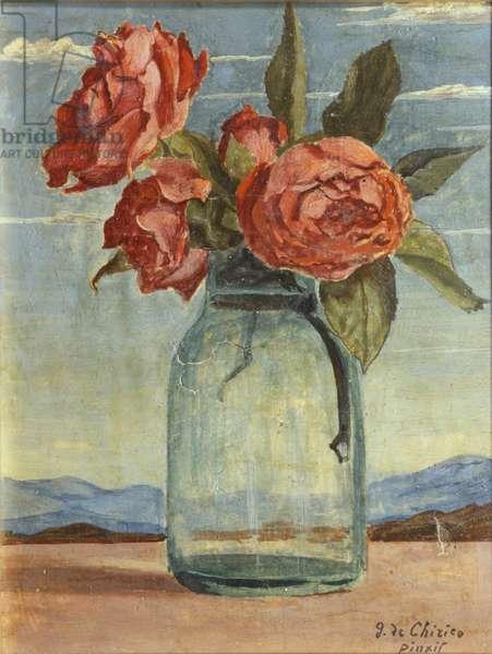 Red Roses (Le rose rosse), by Giorgio De Chirico, 20th century, (tempera on canvas) 26 x 20 cm