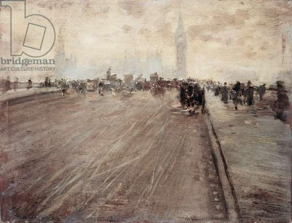 Westminster Bridge I (Westminster Bridge I), by Giuseppe De Nittis, 1878, 19th Century, oil on board, 19 x 25 cm