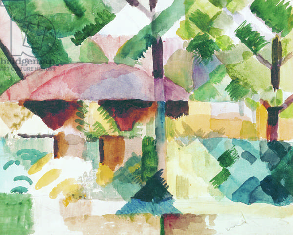 Entrance of a Garden, by August Macke, 1914, 20th Century, watercolor on paper