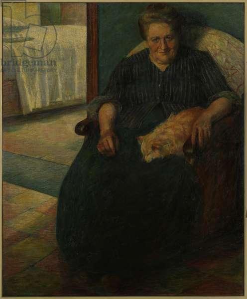 Mrs. Virginia or Portrait of Mrs. Virginia (La signora Virginia o Il ritratto della signora Virginia), by Umberto Boccioni, 1905, 20th Century, oil on canvas, 138 x 115 cm