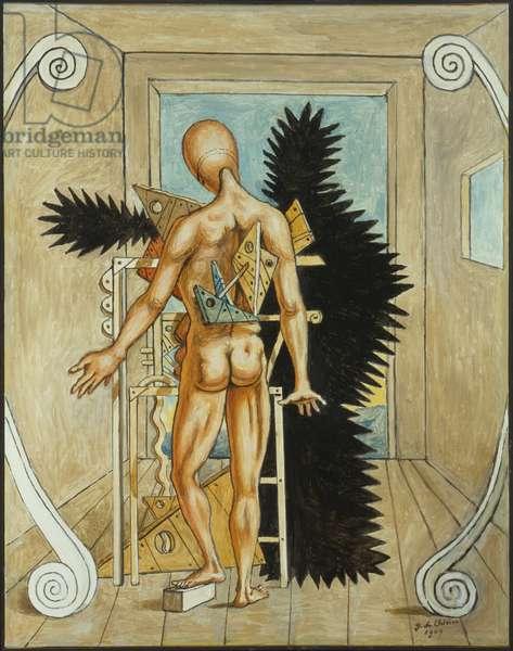 The Remorse of Orestes (Il rimorso di Oreste), by Giorgio De Chirico, 1969, 20th century (oil on canvas) 90 x 70 cm