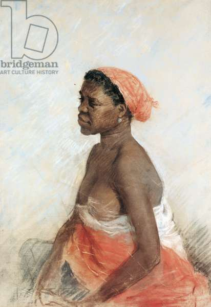 African Woman (Donna di colore), by Giuseppe De Nittis, 1883, 19th Century, pastel, 89 x 63 cm