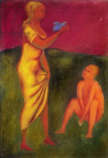 Landscape of Love (Paesaggio d'amore), by Giacomo Manzù, 1931, 20th Century, oil on canvas, 65 x 45 cm