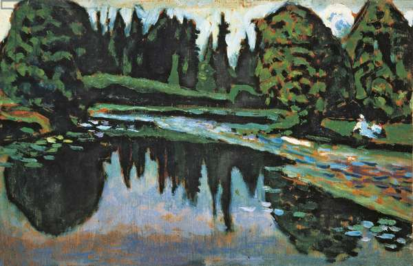 River in Summer, by Wassily Kandinsky, 1903, 20th Century, oil on canvas, 19.5 x 29.5 cm.