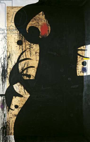 Figure, Bird, by Joan Mirî, 1973, 20th Century, acrylic and collage on canvas, 209 x 137 cm
