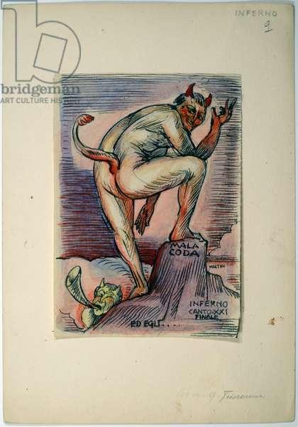 Dantesque Album (Album Dantesco), 1920-30 (pencil, Indian ink, gouache)