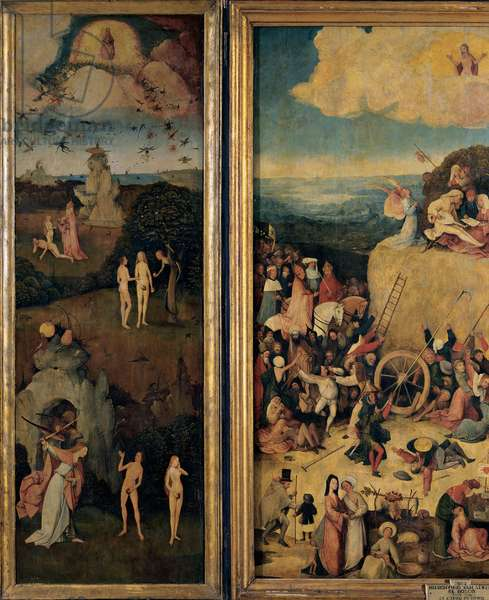 The Haywain (Triptych) - The Original Sin, 1500 (oil on panel)