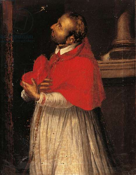 Saint Charles (San Carlo), copy from Giovan Battista Crespi known as il Cerano, 17th Century, oil on canvas, 48 x 37 cm