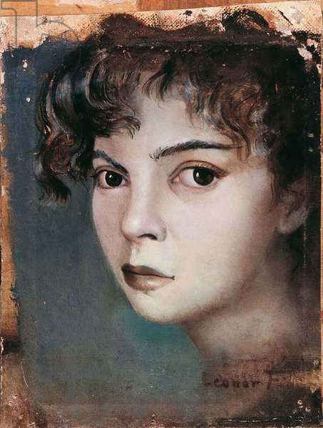 Self-portrait, by Leonor Fini, c. 1945, 20th Century, oil on canvas on board, 13 x 10 cm