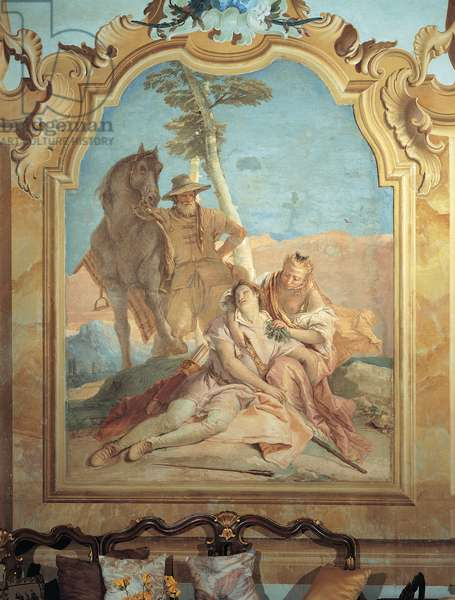 Angelica Accompanied by a Shepherd Takes Care of Medoro, 1757 - 1757 (fresco)