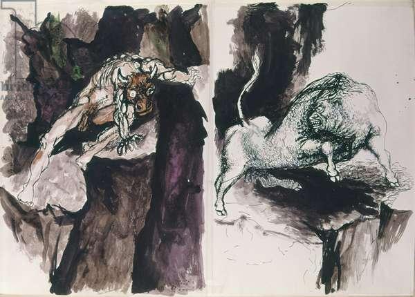 Minotaur (Il minotauro), by Renato Guttuso, 20th Century, ink and watercolour on paper
