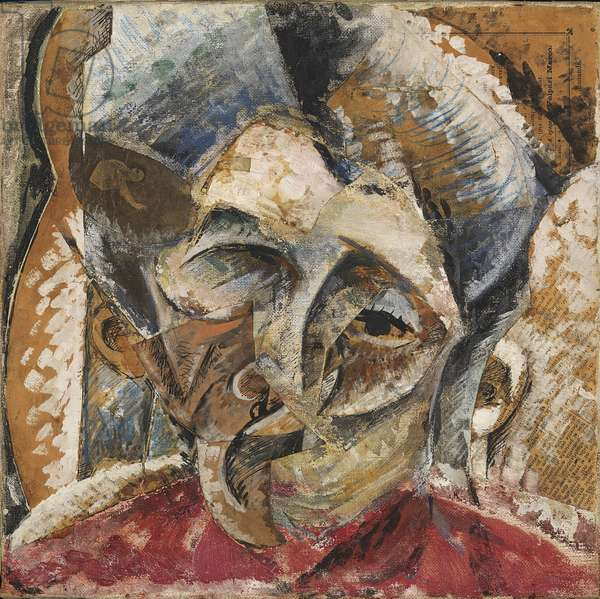 Dynamism of a Woman's Head or Head of a Woman or Decomposition of a Woman's Head or Lines Forces of a Head (Dinamismo di una testa di donna), by Umberto Boccioni, 1914, 20th Century, tempera and collage on canvas, 35 x 35 cm