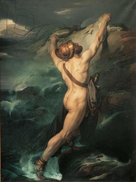 Ajax of Oileus Shipwrecked (Ajace Oileo naufrago s'aggrappa ad uno scoglio imprecando contro gli Dei), by Francesco Hayez, 1791 - 1882, 18th - 19th Century, oil on canvas