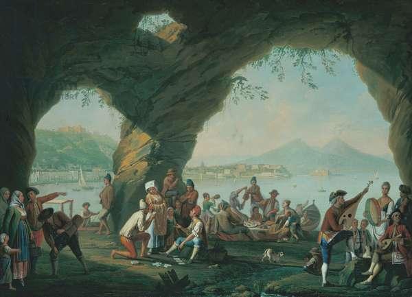 Scenes of Everyday Life in a Cave in Posillipo (Scena di vita popolare in una grotta a Posillipo), by Pietro Fabris, 18th century (oil on canvas)