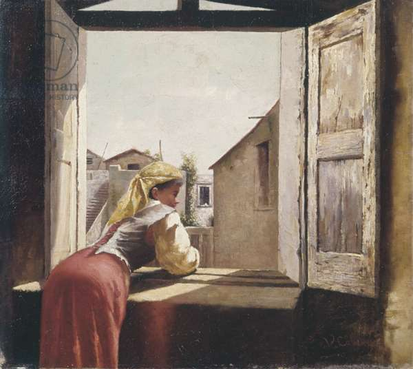 Woman on a window (Donna alla finestra), by Vincenzo Cabianca, 19th Century, oil on canvas