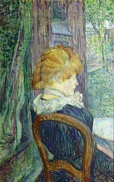 Woman sitting in a garden, by Henri de Toulouse-Lautrec, ca. 1890, 19th Century, oil on cardboard, 49 x 31 cm