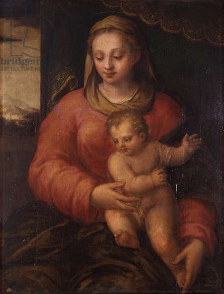 Madonna with Child (Madonna col Bambino), by Sebastiano Filippi also known as Bastianino, second half of the 16th Century, oil on board