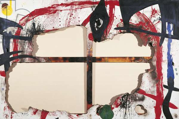 Burnt Canvas IV (Toile brûlèe 4), by Joan Mirî, 1973, 20th Century, acrylic on burnt canvas, 130 x 195 cm