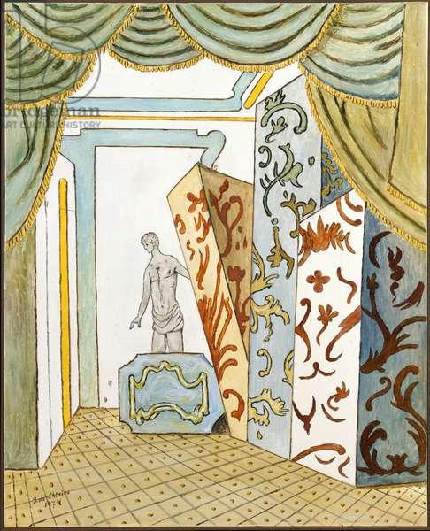 Mystery in a Hotel Room in Venice (Mistero in una stanza d'albergo a Venezia), by Giorgio De Chirico, 1974, 20th century (oil on canvas)