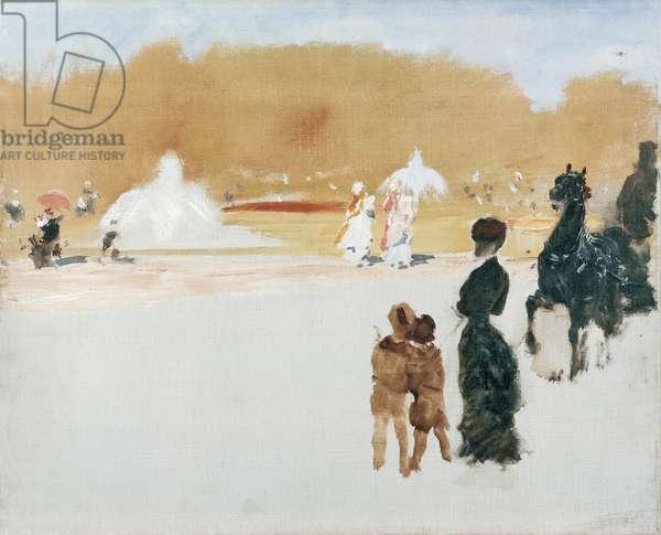 In the Gardens (Nei giardini), by Giuseppe De Nittis, 1882-1883, 19th Century, oil on canvas, 37 x 43 cm