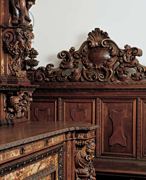 Cabinet, 1690 (carved walnut wood and red marble)