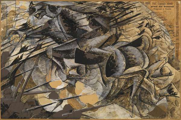 Charge Lancers - Cavalry Charge (Carica di lancieri - Carica di cavalleria), by Umberto Boccioni, 1915, 20th Century, tempera, paint, collage on paper mounted on canvas, 33.4 ? 50.3 cm