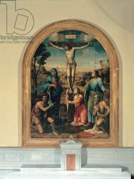 Crucifixion and Saints, (oil on canvas)