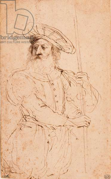 Bust of a Male Bearded Figure Wearing a Hat, Holding a Shaft in his Hands (Busto di figura maschile con barba, cappello e un'asta in mano), by Giovan Francesco Barbieri known as il Guercino, 17th Century, pen