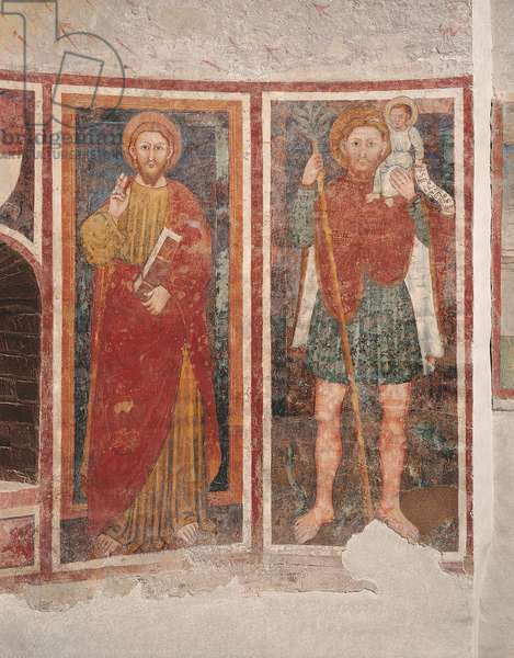 The Redeemer and Saint Christopher (Il Redentore e San Cristoforo), by Veronese Master of 1392, 14th Century, fresco