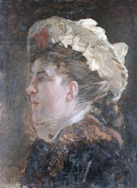 Head of a Woman with a Veil (Testa di donna con veletta), by Giuseppe De Nittis, 1882-1883, 19th Century, oil on canvas, 43 x 32 cm