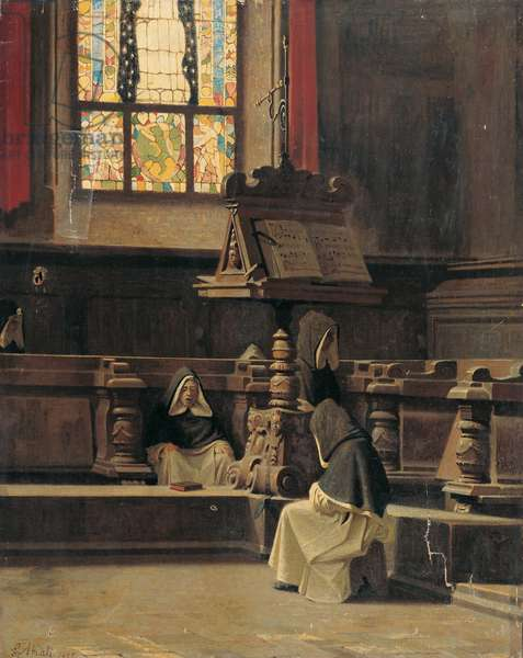 Interior of the Sacristy with Monks (Interno di sagrestia con monaci), by Giuseppe Abbati, 1865, 19th Century, oil on canvas, 74 x 59 cm