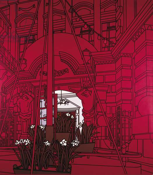 Forecourt, by Patrick Caulfield, 1975, 20th Century, acrylic on canvas, 259 x 202 cm