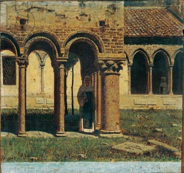 Cloister of San Zeno in Verona (Chiostro di San Zeno a Verona), by Vincenzo Cabianca, 1867, 19th Century, oil on canvas
