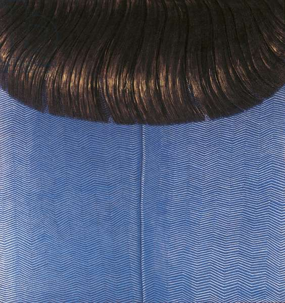 Red Hair on Blue Dress, by Domenico Gnoli, 1969, 20th Century, oil on canvas, 179 x 160 cm